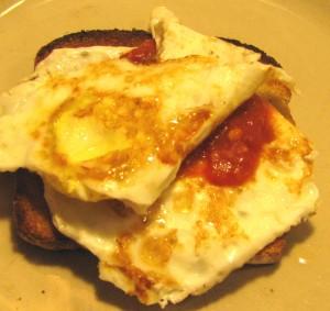 Homemade egg breakfast sandwich...tender, but no jiggly egg whites here!