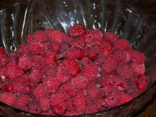 "raspberries ""fresh"" from the freezer"