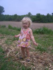jaden at 21 months wearing a shirt as a dress