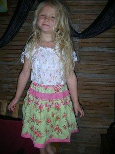 a girl's shirt and a woman's skirt make a lovely dress for jaden, 4 1/2