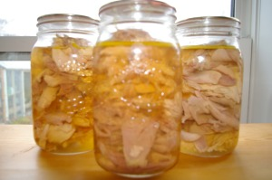 Canned chicken and turkey.