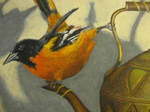Oriole painting detail