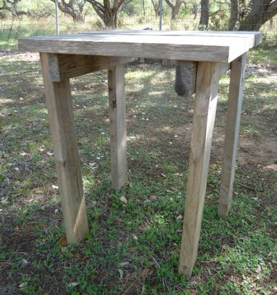 Small table at clothesline