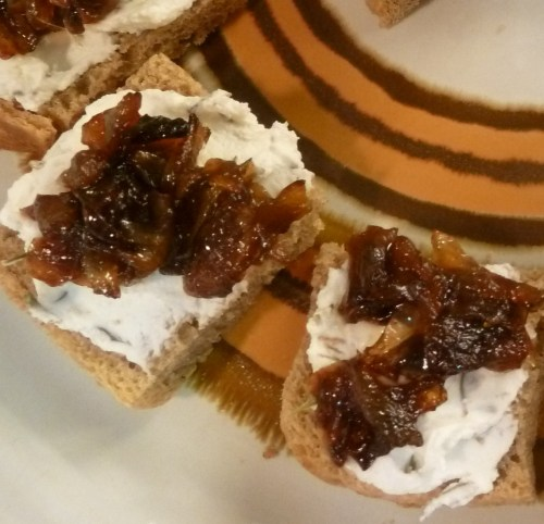 Goat Cheese - Thyme - Caramelized Onion Crostini Canape - Emily