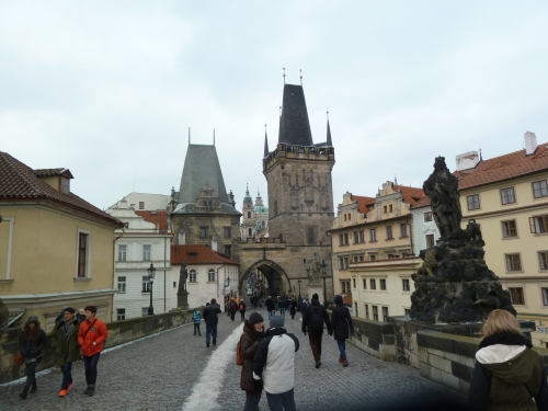 "Looking toward ""New Town"" from Charles Bridge"
